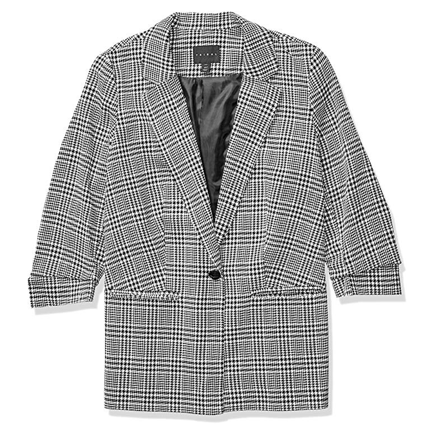 Tribal Women's 34 Sleeve Houndstooth Blazer