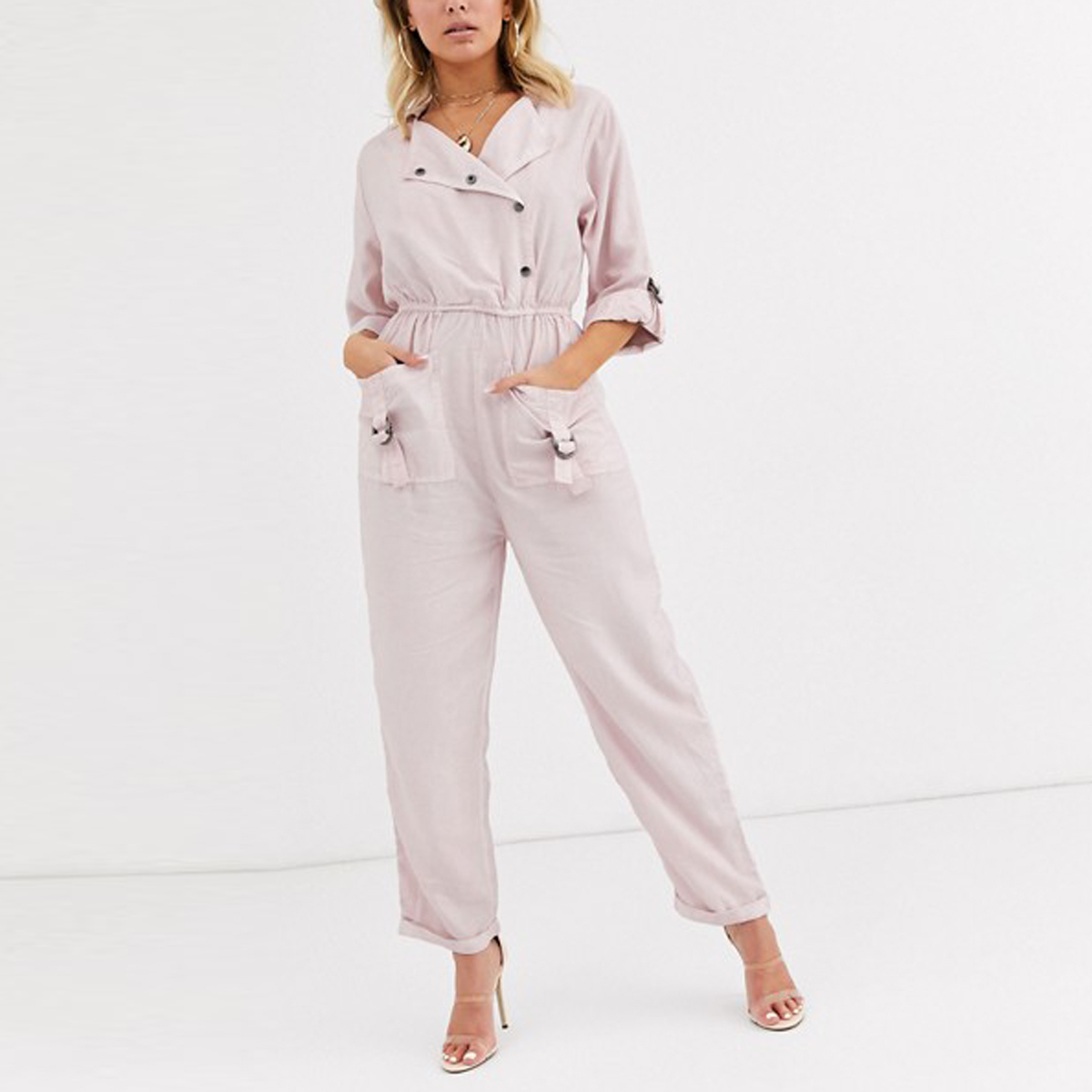 Jumpsuit with D-ring Detail in Washed Pink