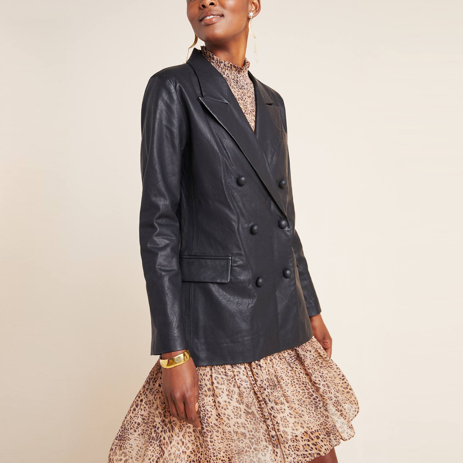Anthropologie Angela Faux Leather Double-Breasted Blazer