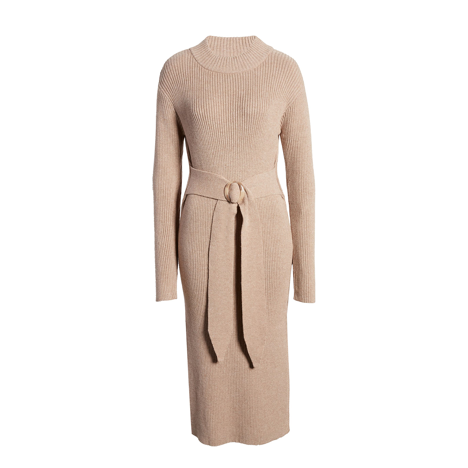 Moon River Long Sleeve Belted Sweater Dress