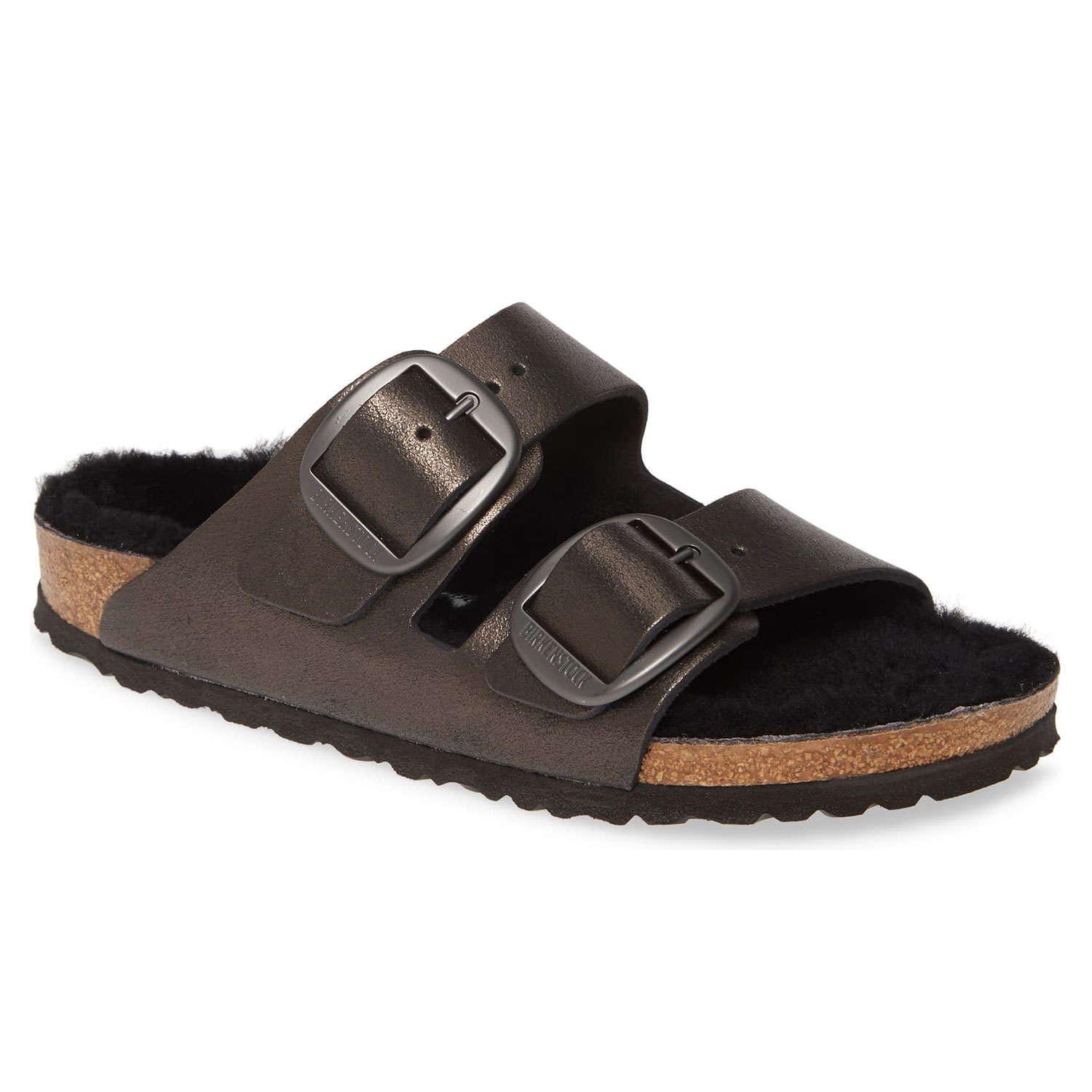 Birkenstock Perfect Pairs Arizona Big Buckle Sandal with Genuine Shearling Lining