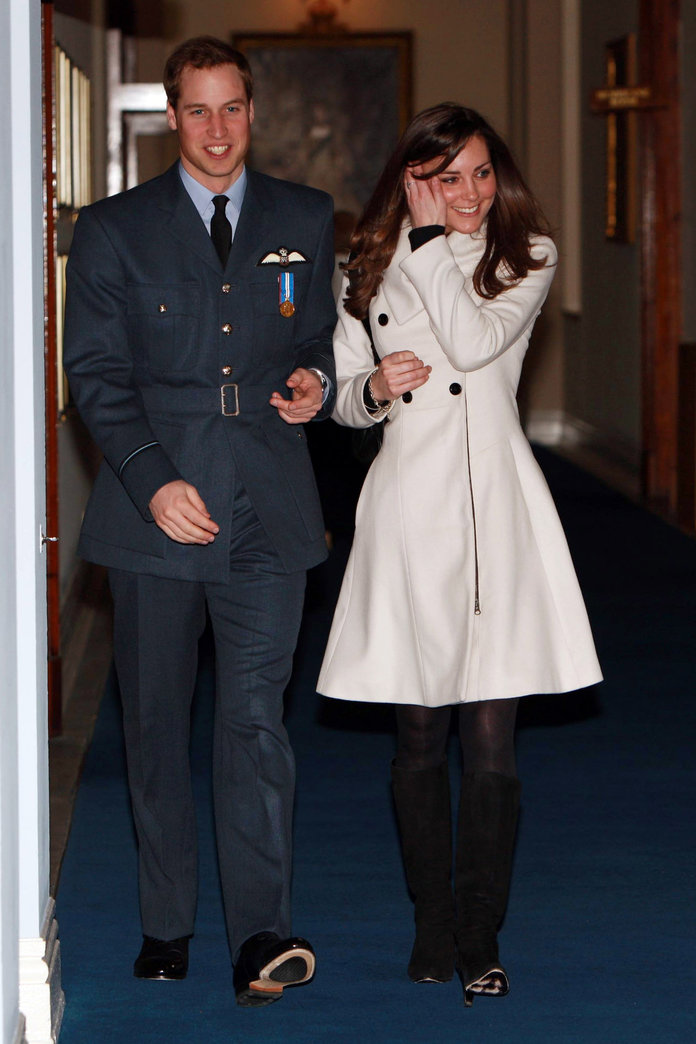 kate middleton wearing cream reiss coat with prince william in 2008