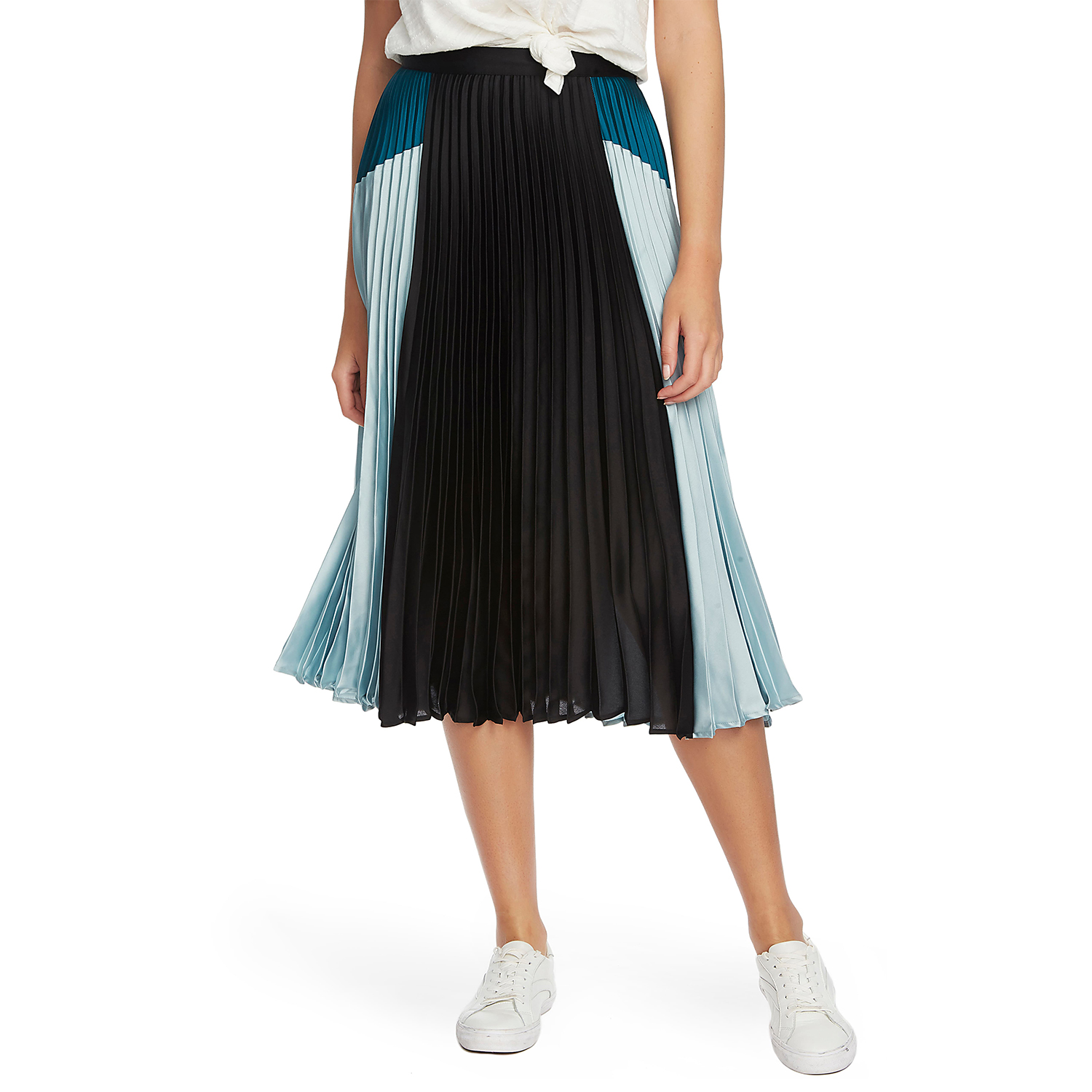 1.STATE Colorblock Satin Pleated Midi Skirt