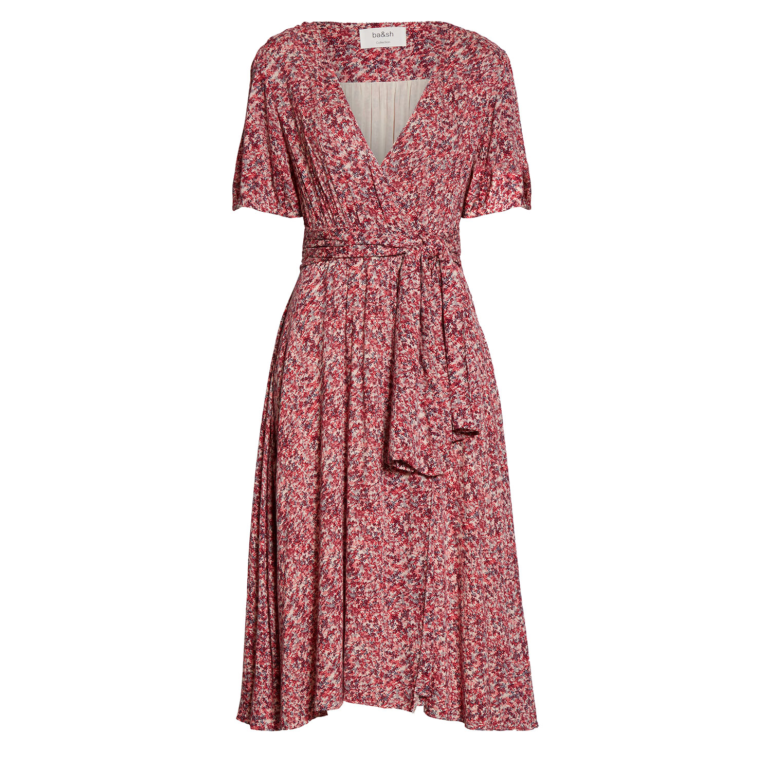 ba&sh Noemie Floral Short Sleeve Wrap Midi Dress