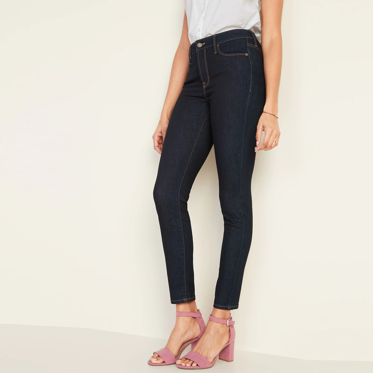 High-Waisted Rockstar Super Skinny Jeans Deep Rinse