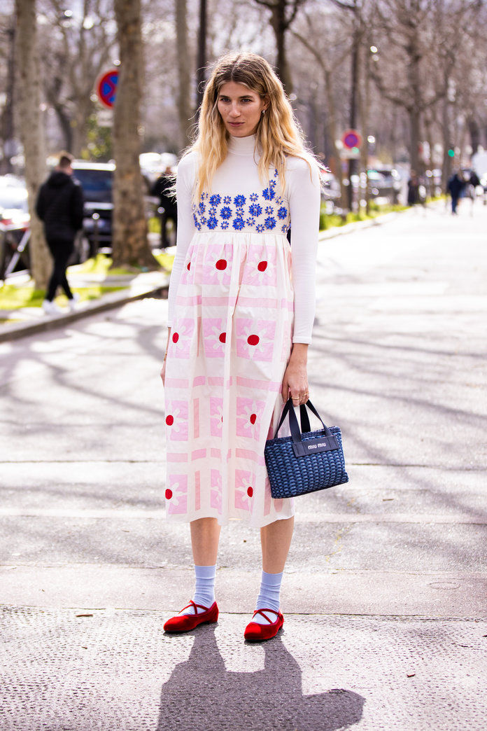 printed dress and mary jane shoes outfit idea, spring 2020