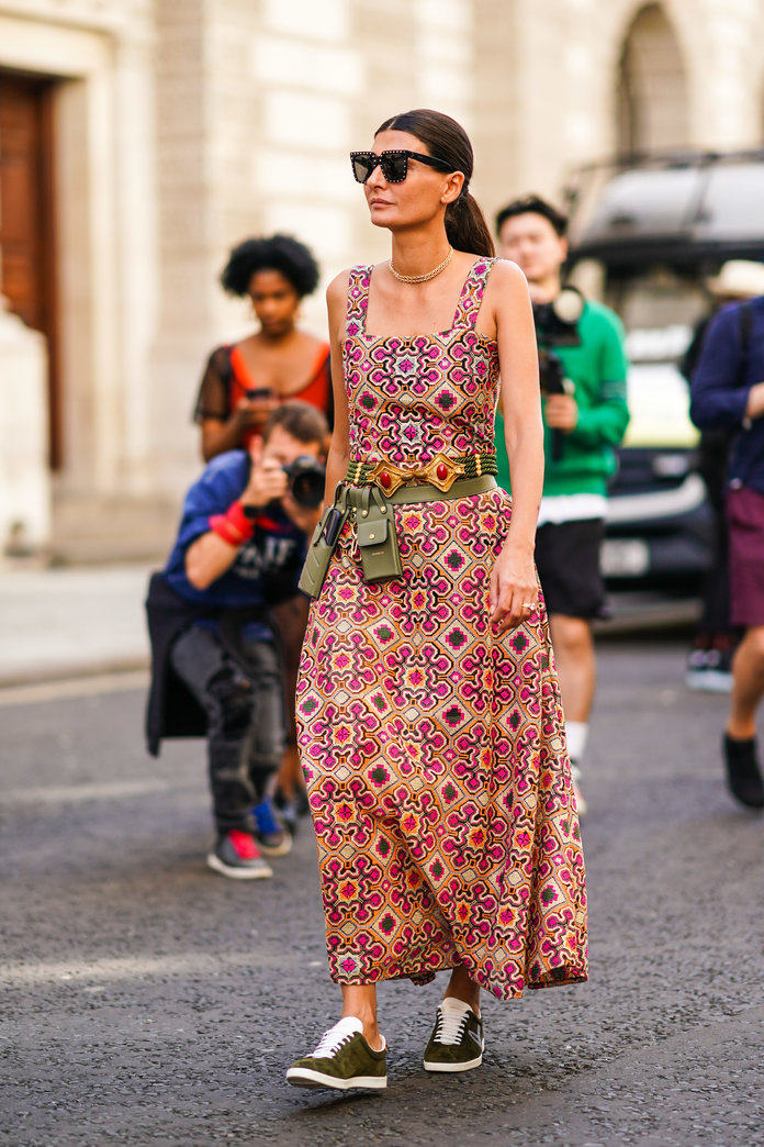 printed dress and sneakers outfit idea, spring 2020