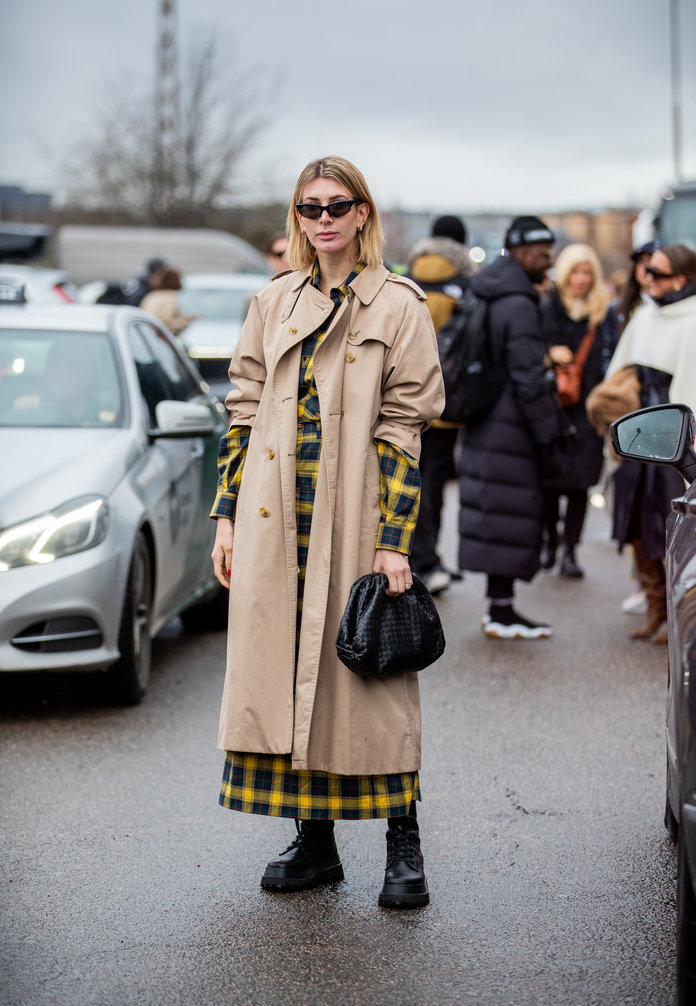printed dress and a trench coat, street style outfit idea, spring 2020