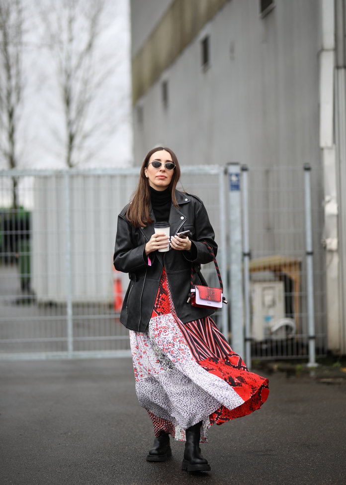 printed dress and a leather jacket, street style outfit idea, spring 2020