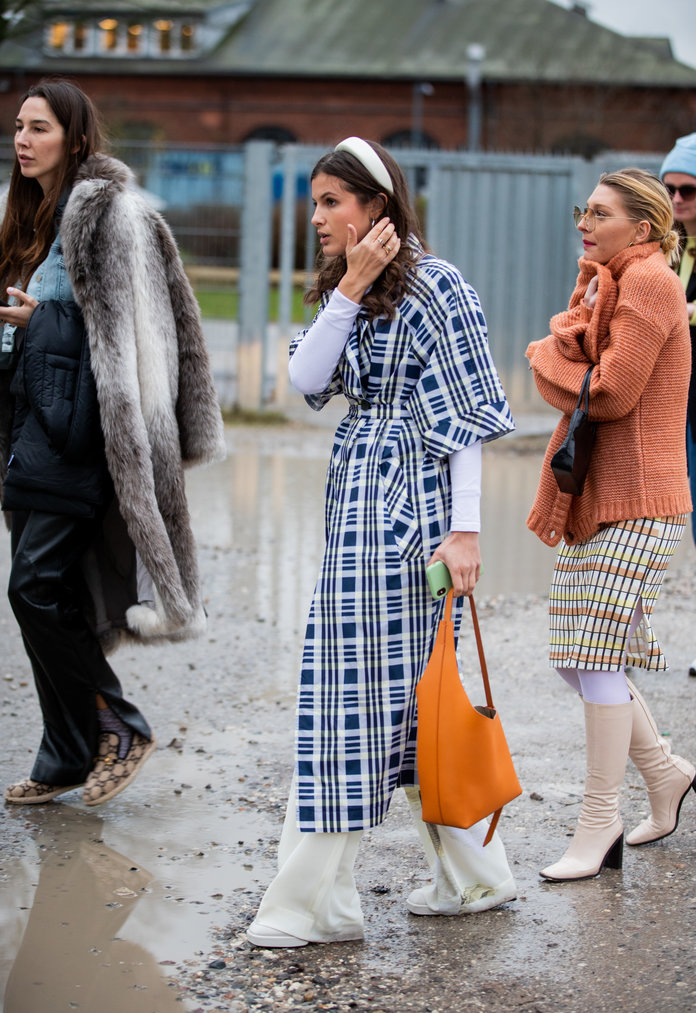 printed dress, dresses layered over pants outfit, spring 2020