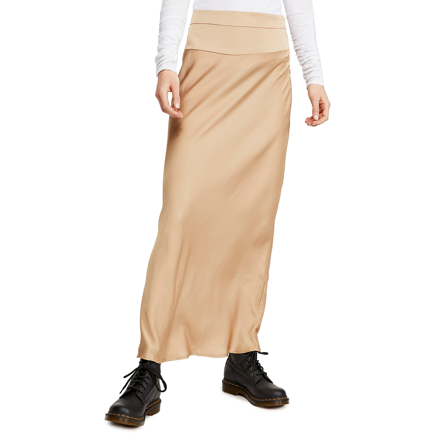 Free People Normani Bias Cut Satin Skirt Praline