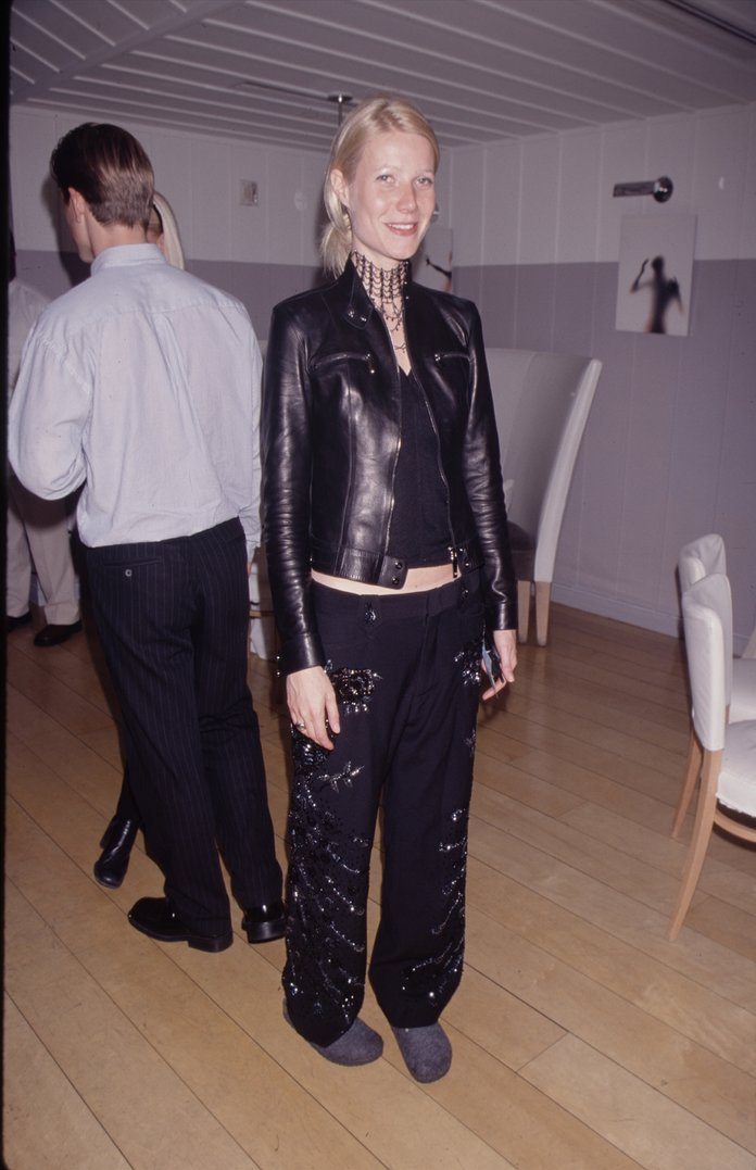 Gwyneth Paltrow '90s Leather Jacket Outfits