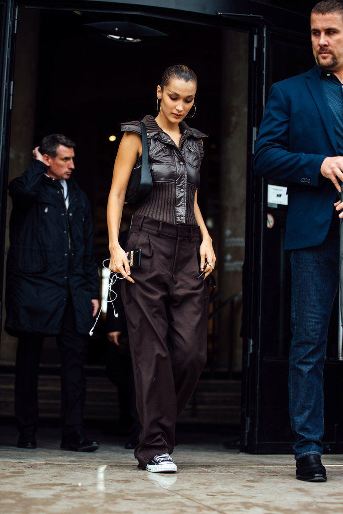 bella hadid vest outfit ideas, how to wear a vest