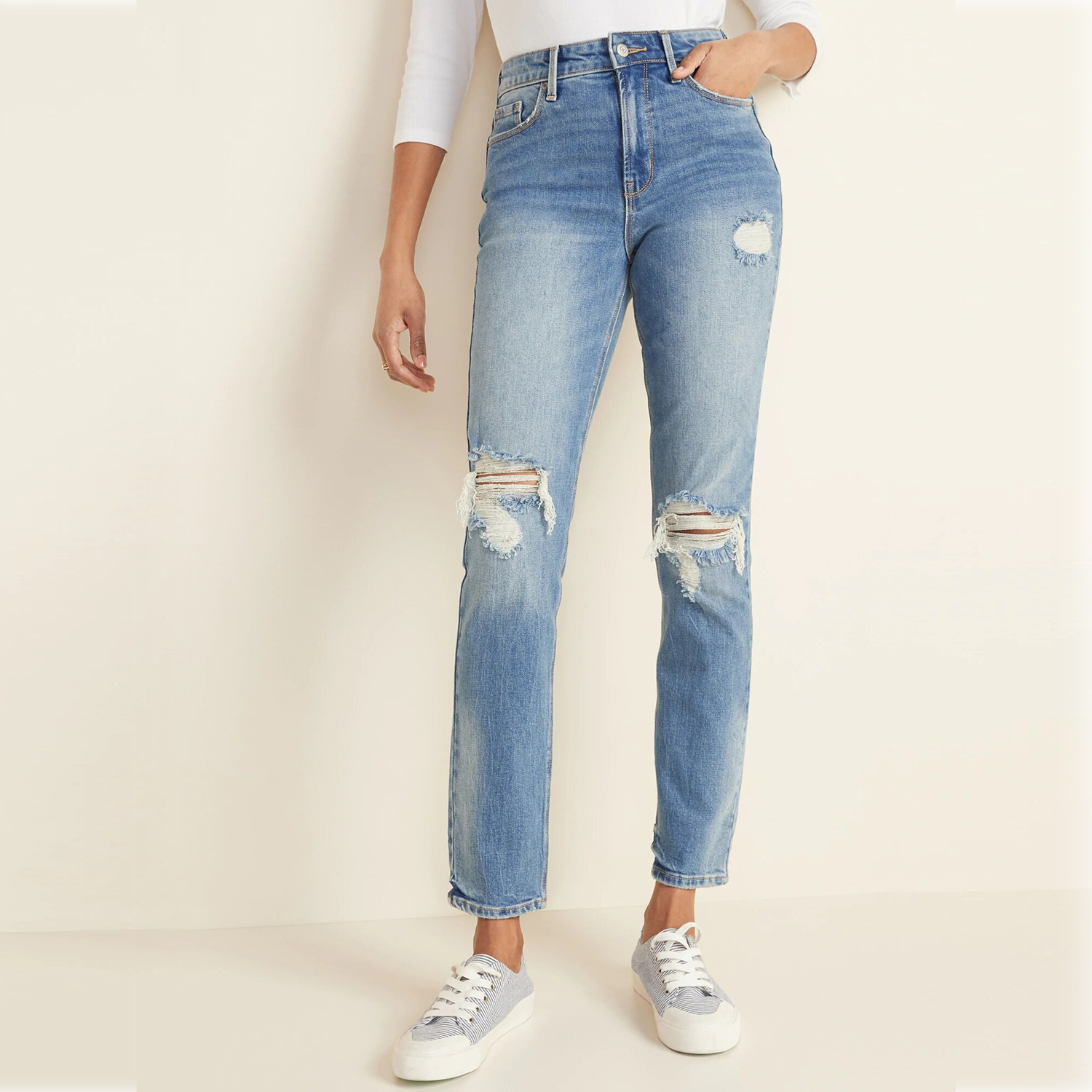 Old Navy High-Waisted Distressed Power Slim Straight Jeans