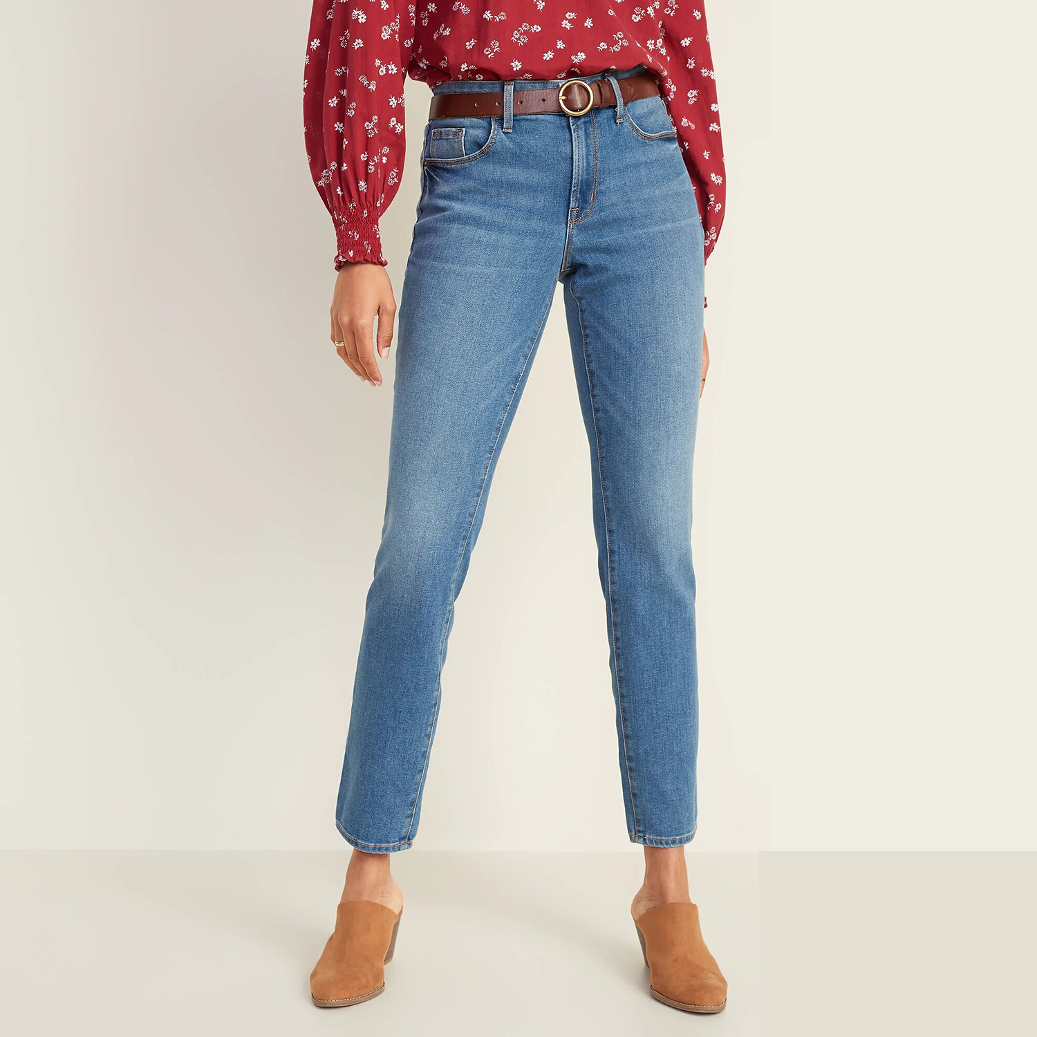 Old Navy Mid-Rise Power Slim Straight Jeans