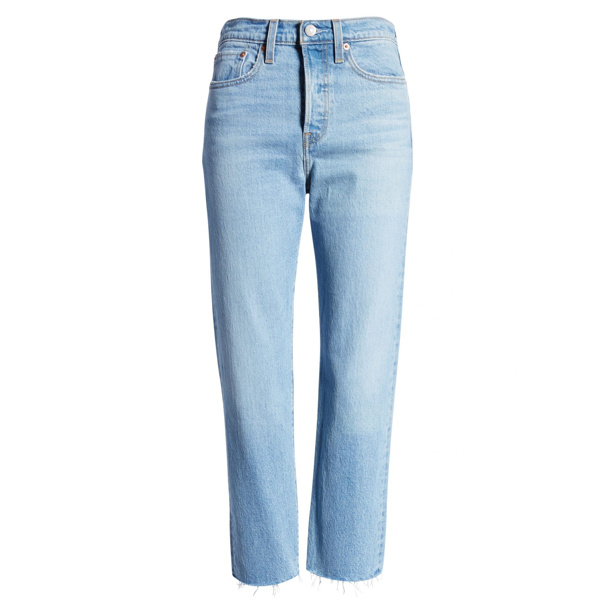 Levi's Wedgie High Waist Raw Hem Straight Leg Jeans