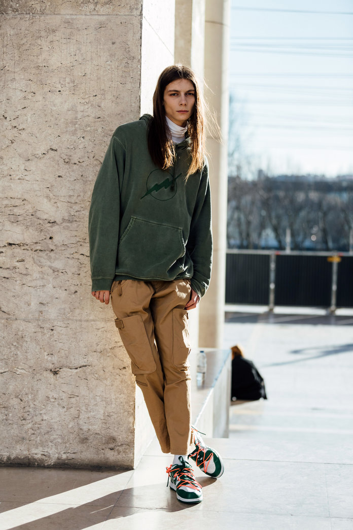 what to wear with khakis, khaki pants outfit idea, khaki pants and a hoodie
