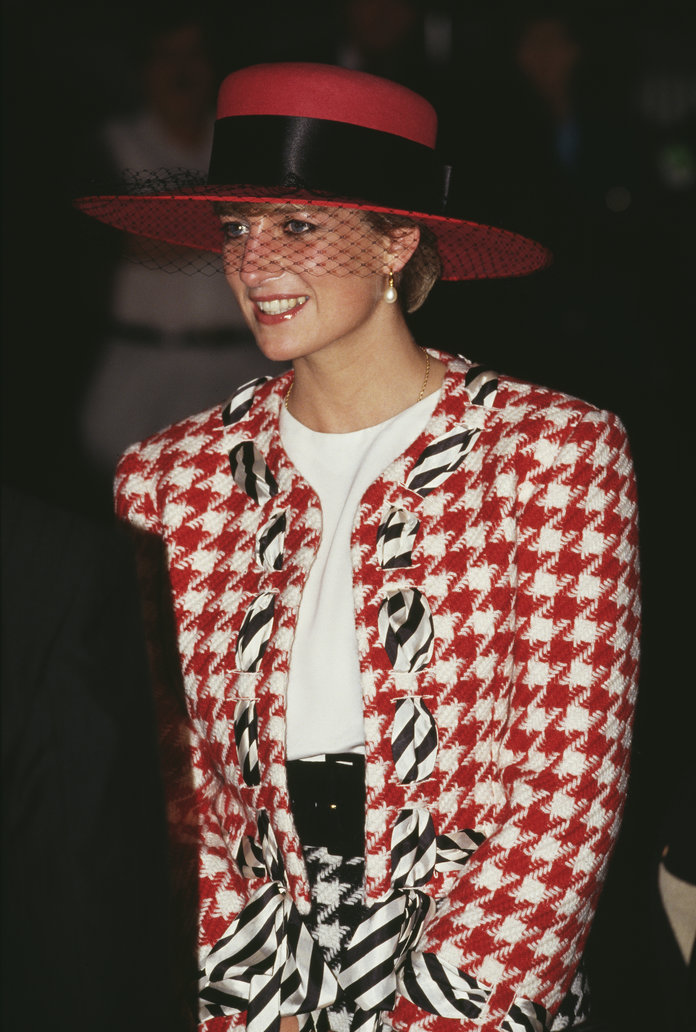 Princess Diana Outfits, Styling Tricks, Houndstooth Jacket and Hat