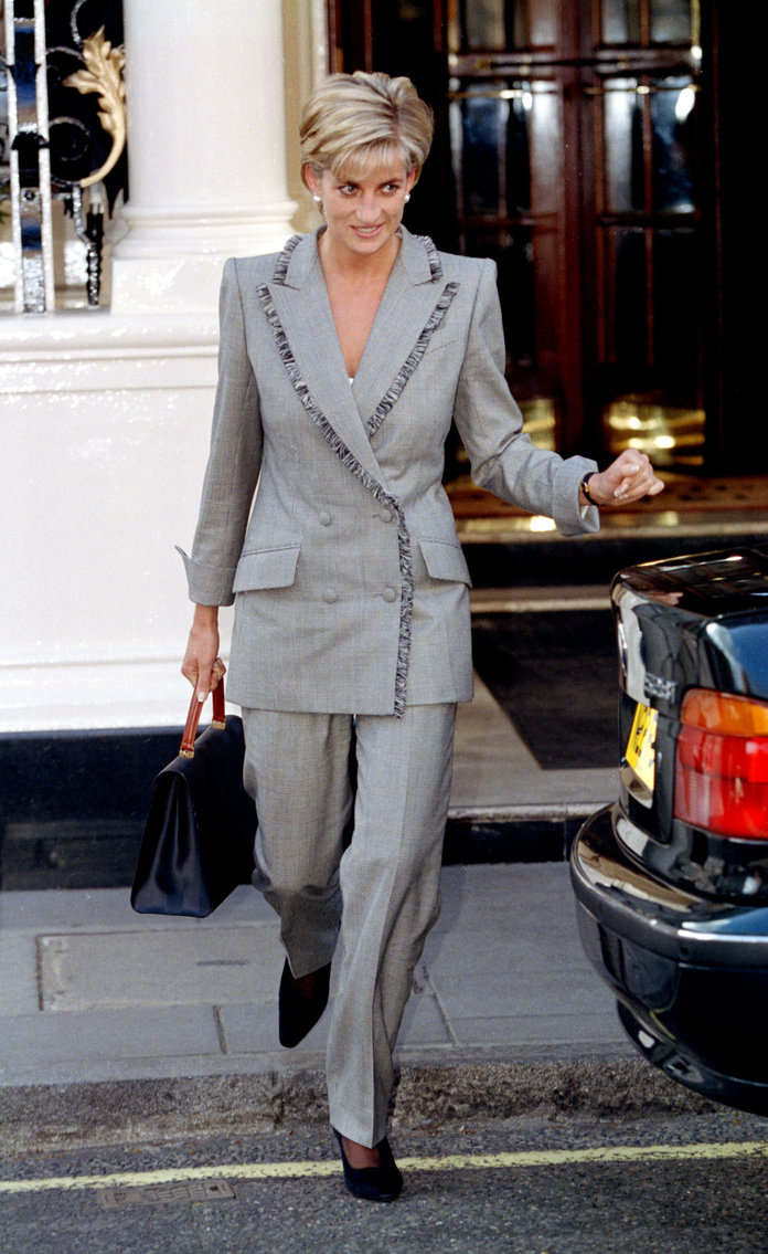 Princess Diana Outfits, Styling Tricks, Gray Pants Suit