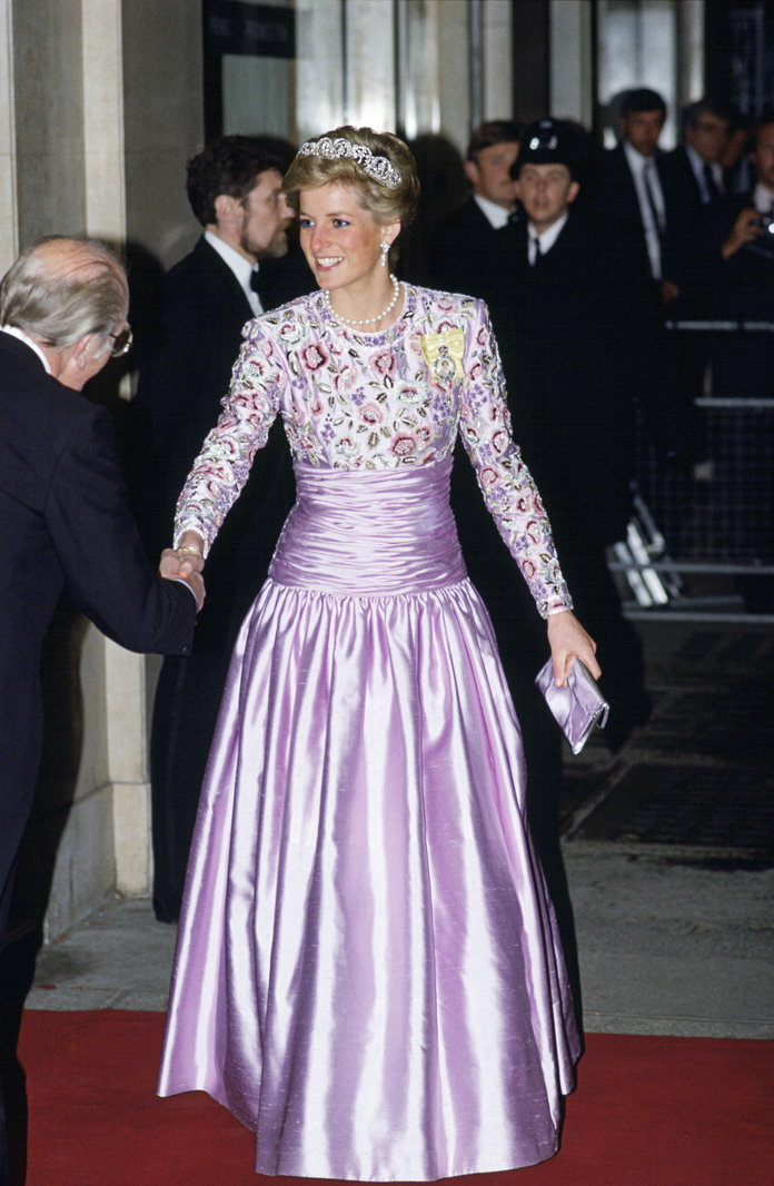 Princess Diana Outfits, Styling Tricks, Purple Gown