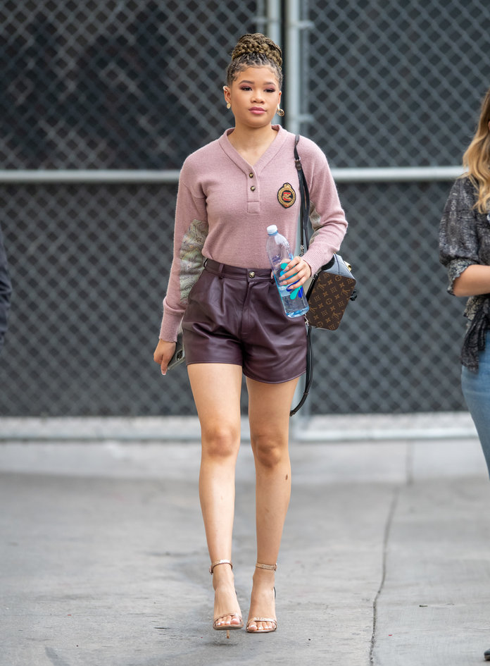 leather shorts fashion trend 2020, storm reid wearing leather shorts to jimmy kimmel live