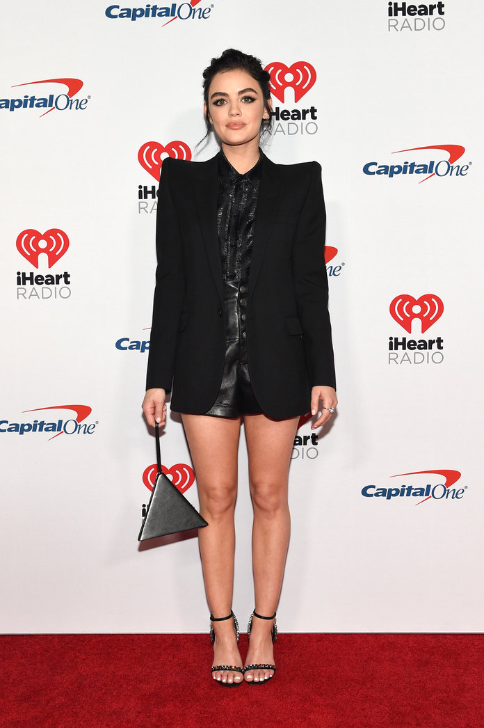 leather shorts fashion trend 2020, lucy hale wearing leather shorts at the iheartradio music festival