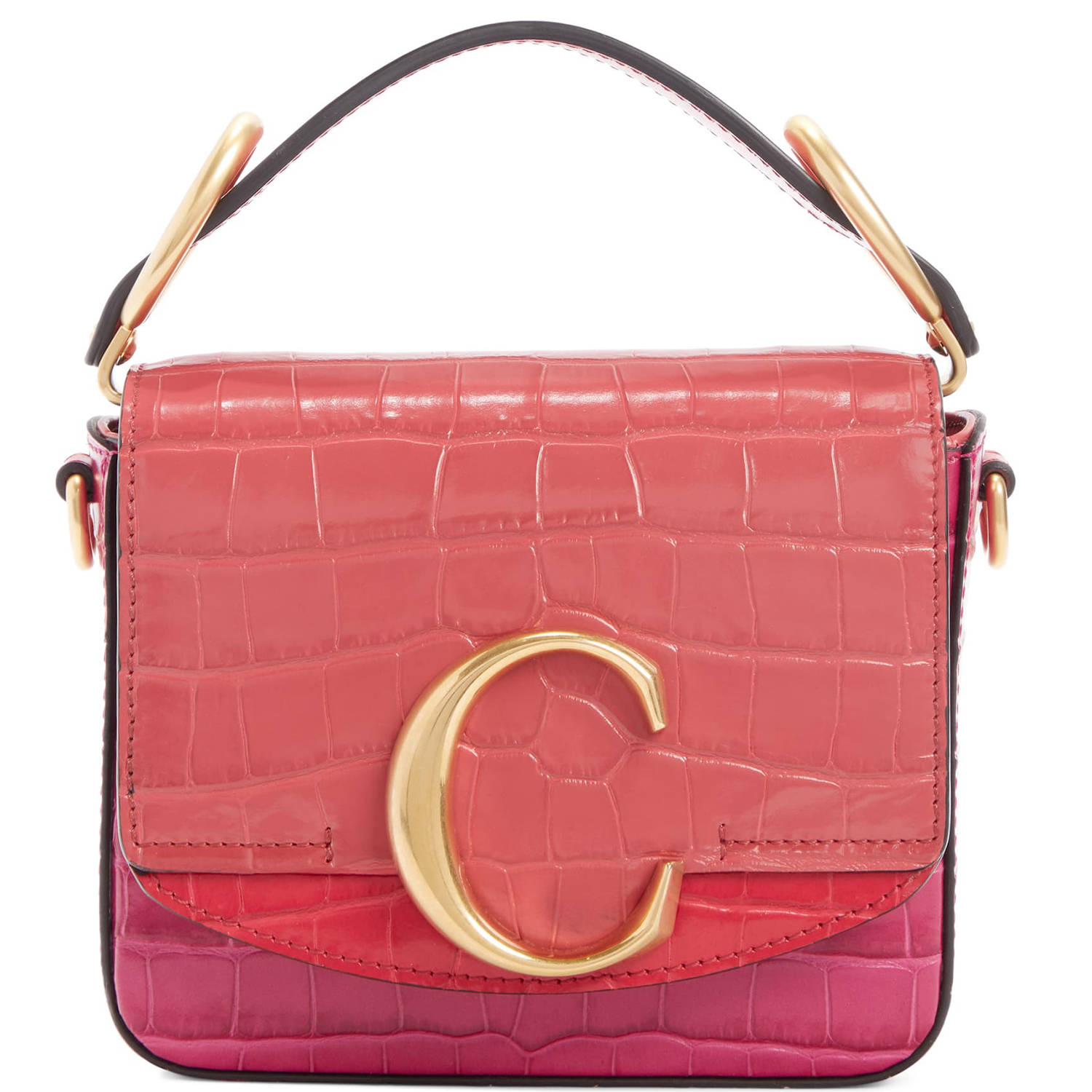 Chloé Mini C Tricolor Croc Embossed Leather Shoulder Bag