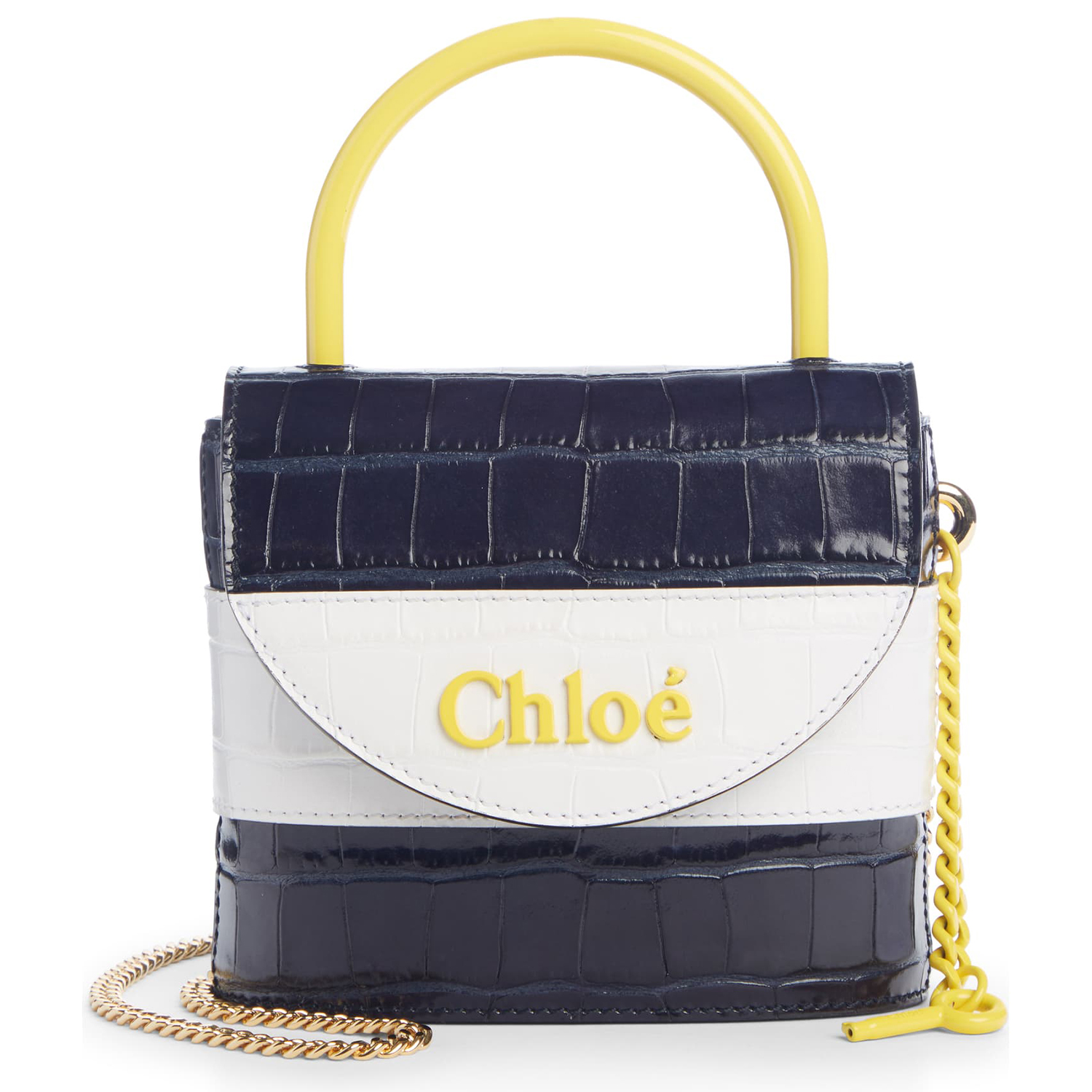 Chloé Small Aby Lock Croc Embossed Leather Shoulder Bag