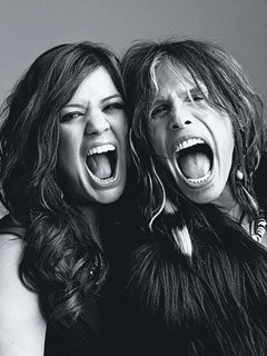 Kelly Clarkson, with Steven Tyler