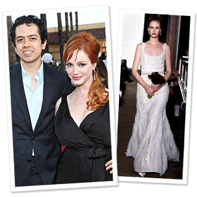 Christina Hendricks and Geoffrey Arend's Wedding - Mad Men - Carolina Herrera wedding gown