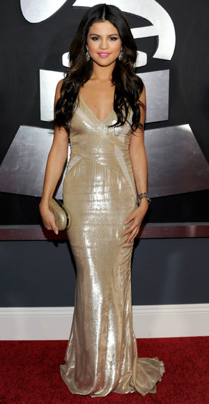 Selena Gomez - J. Mendel - Red Carpet Arrivals - Grammy Awards 2011