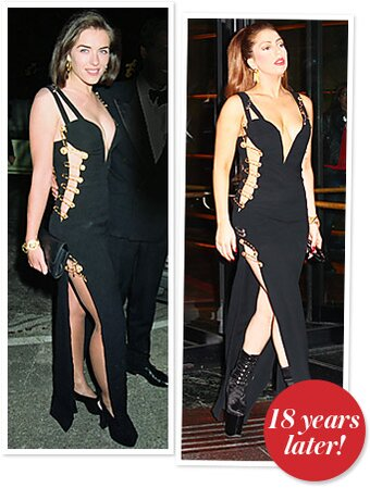 82d5d60a711 Lady Gaga Wears the Iconic Versace Safety Pin Dress