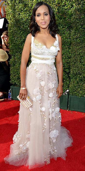 Kerry Washington in Marchesa and Fred Leighton jewelry.