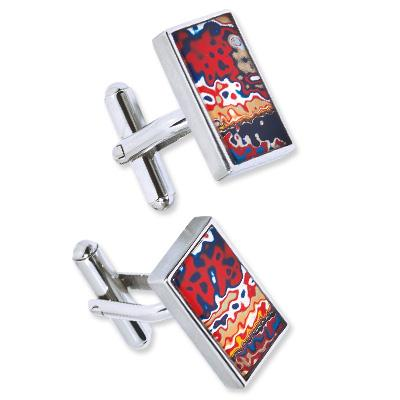 Stainless Steel and Enamel Cuff Links