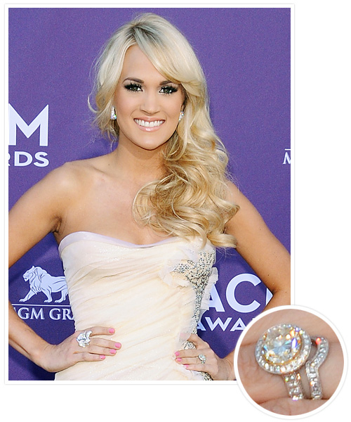 Biggest Celebrity Engagement Rings - Carrie Underwood and Mark Fisher