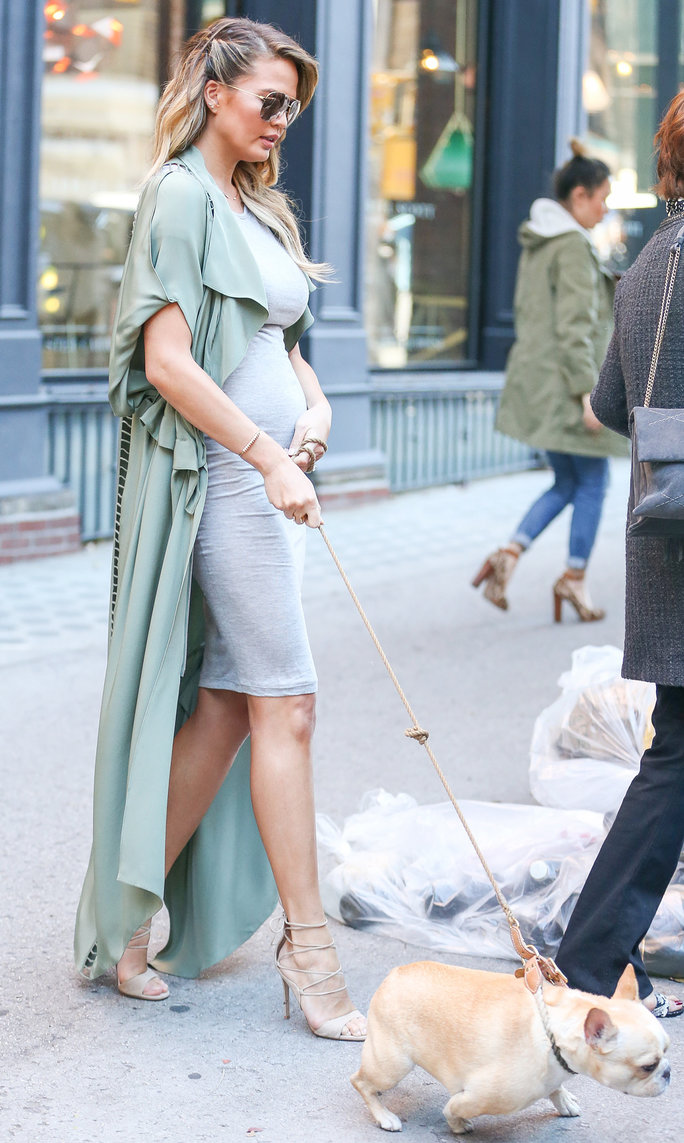Pregnant Chrissy Teigen takes her dog for a walk in New York City on November 16, 2015.