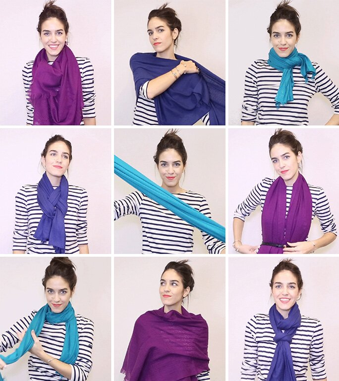af0afc61bfea How to Tie a Scarf with GIFs — 18 Ways to Tie a Scarf | InStyle.com