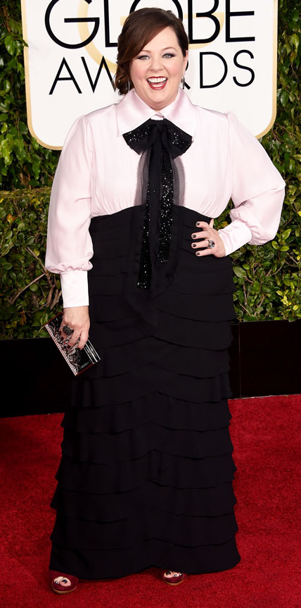 Melissa McCarthy in a black and white dress