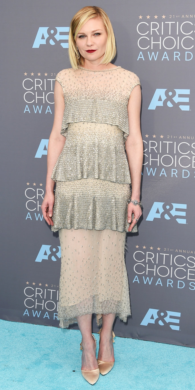 Actress Kirsten Dunst attends the 21st Annual Critics' Choice Awards at Barker Hangar on January 17, 2016 in Santa Monica, California.