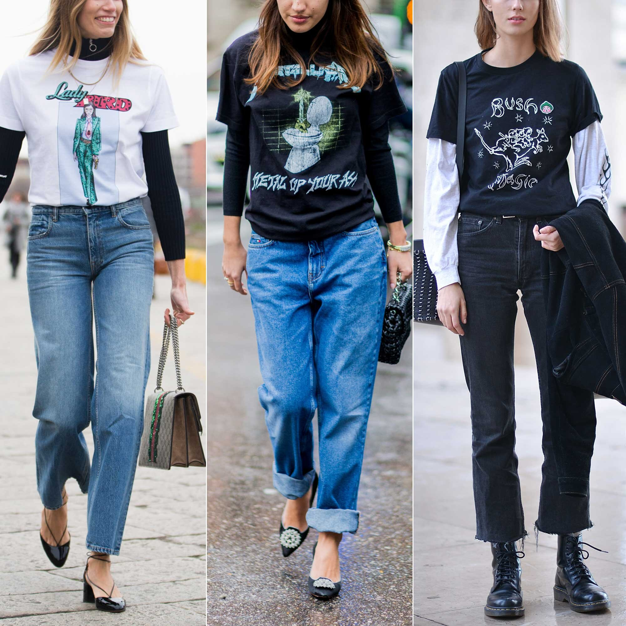 2016 Street Style Trend At Fashion Week Layering T Shirts