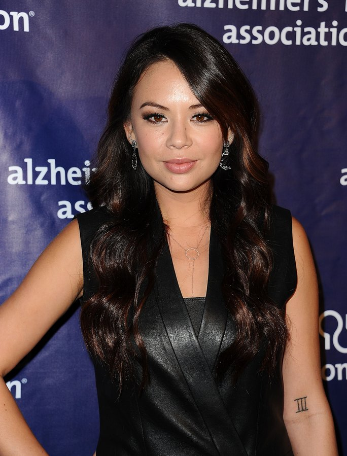 Actress Janel Parrish attends the 2016 Alzheimer's Association's 'A Night At Sardi's' at The Beverly Hilton Hotel.