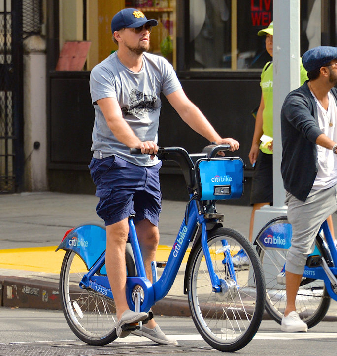 Leo looking both ways while riding his Citi Bike