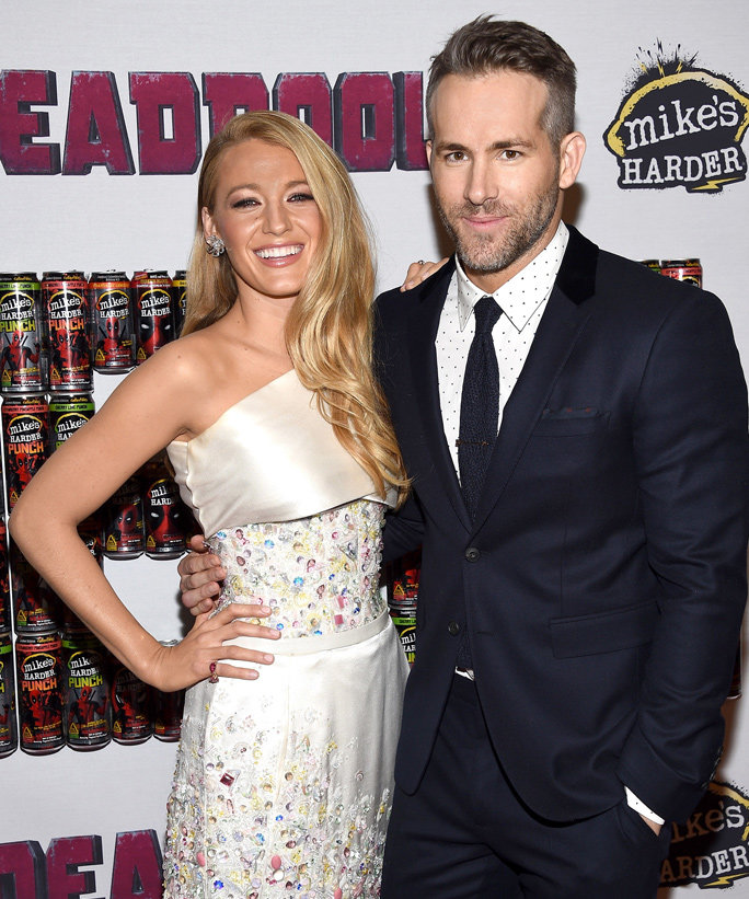 NEW YORK, NY - FEBRUARY 08:  Actors Blake Lively (L) and Ryan Reynolds attend the  Deadpool  fan event at AMC Empire Theatre on February 8, 2016 in New York City.  (Photo by Dimitrios Kambouris/Getty Images)