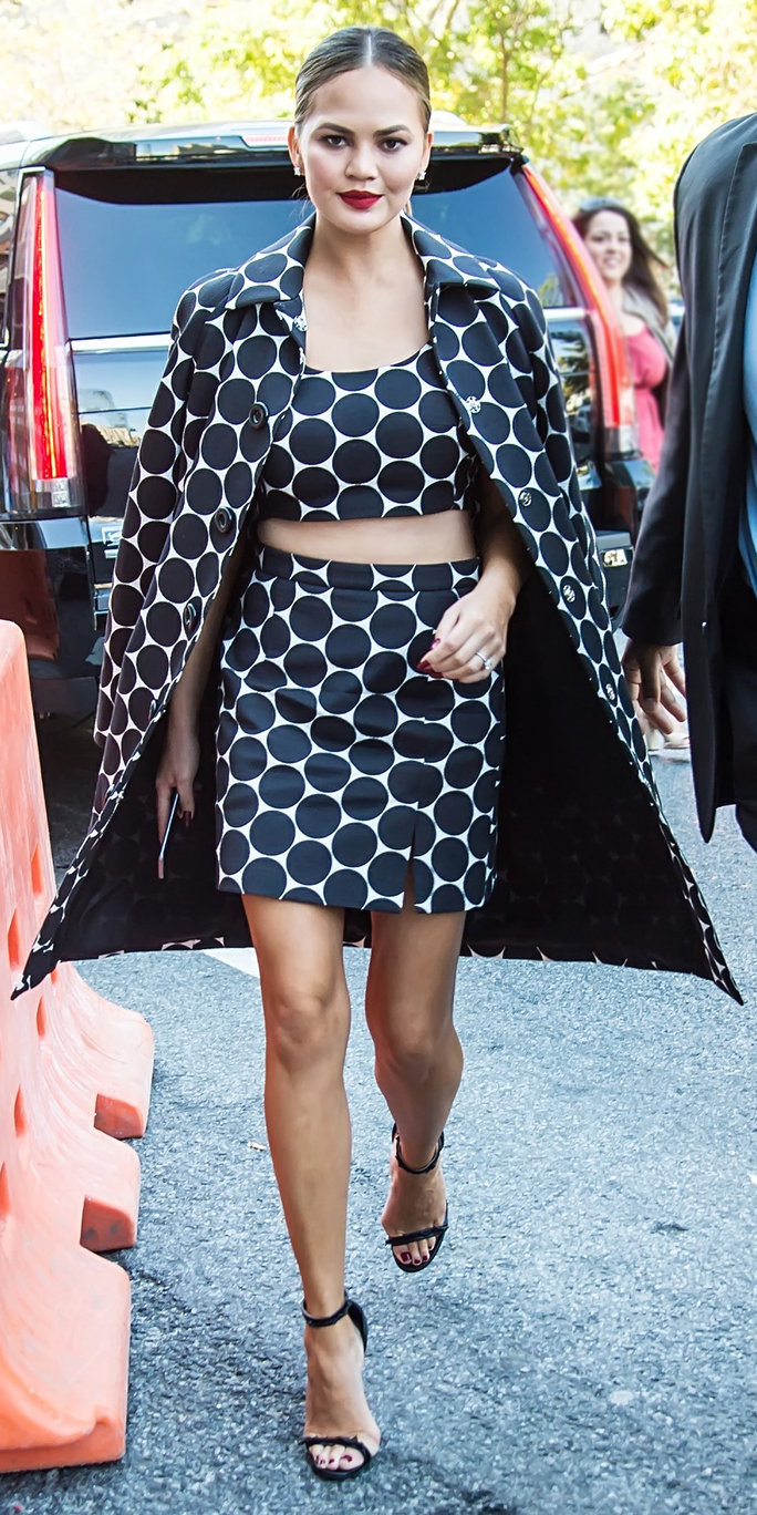 NEW YORK, NY - SEPTEMBER 14:  Model Chrissy Teigen is seen arriving at the Michael Kors Spring 2017 Runway Show during New York fashion week at Spring Studios  on September 14, 2016 in New York City.  (Photo by Gilbert Carrasquillo/GC Images)