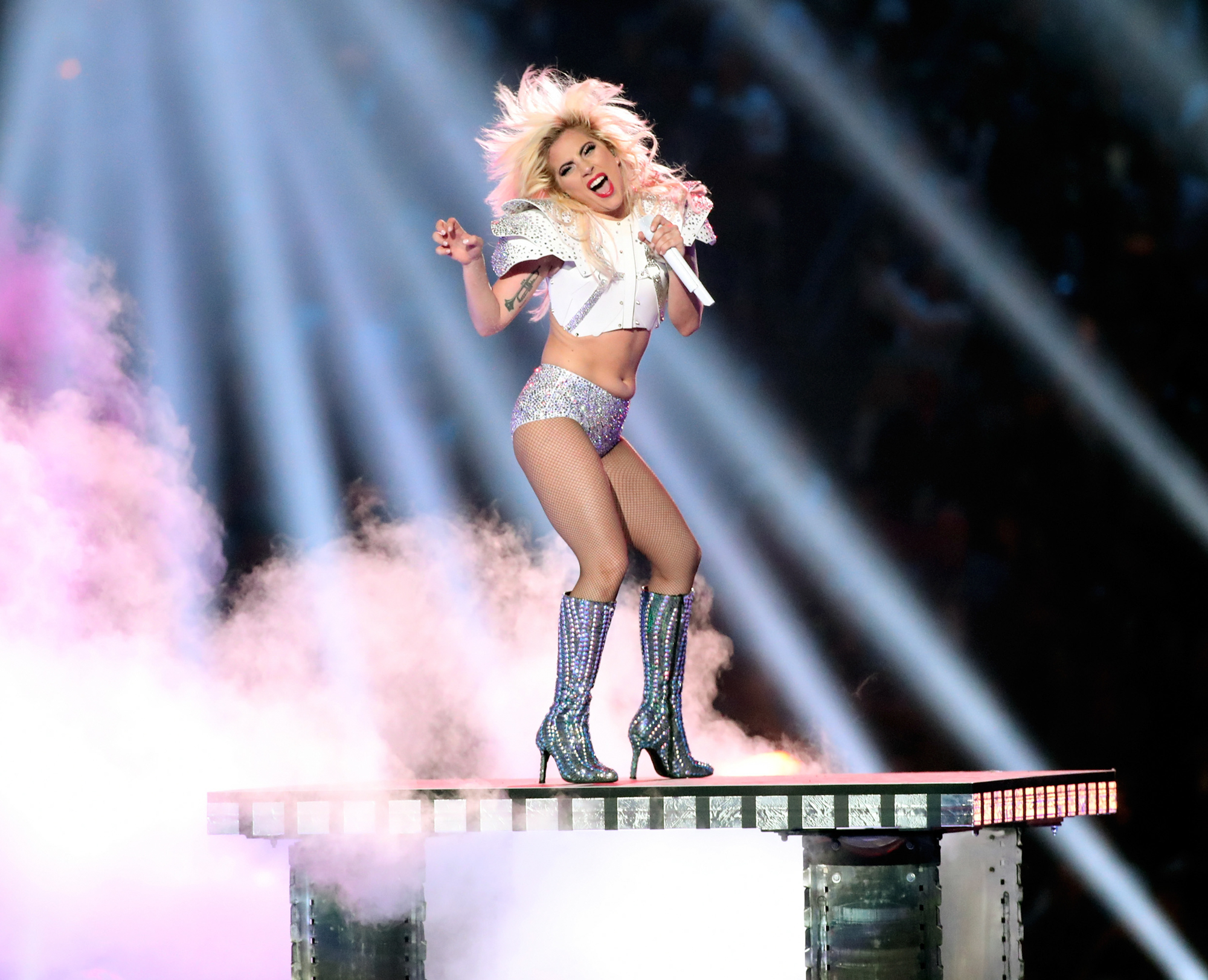 Musician Lady Gaga performs onstage during the Pepsi Zero Sugar Super Bowl LI Halftime Show at NRG Stadium on February 5, 2017 in Houston, Texas.