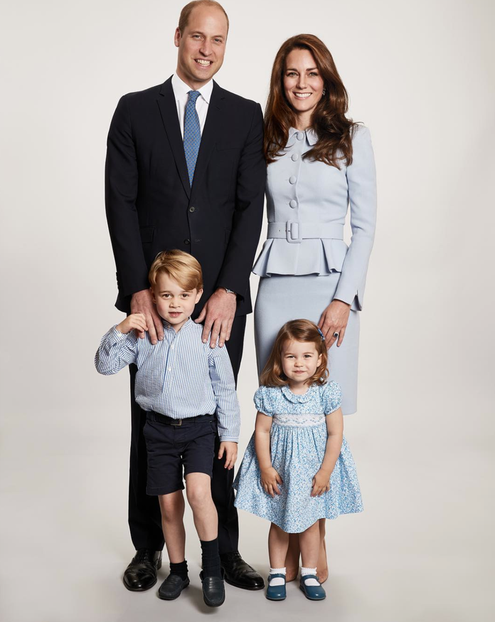 The Duke and Duchess of Cambridge, Prince George, and Princess Charlotte, 2017