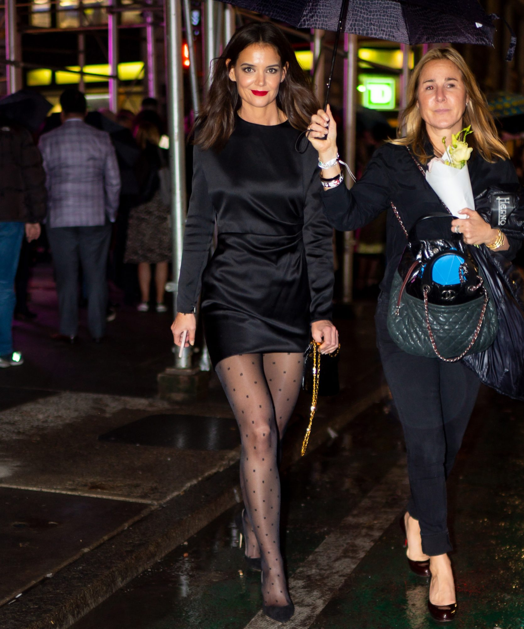 Katie Holmes Just Wore a Classic LBD With These Unexpected Tights