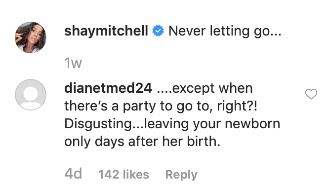 Shay Mitchell IG Comment Embed