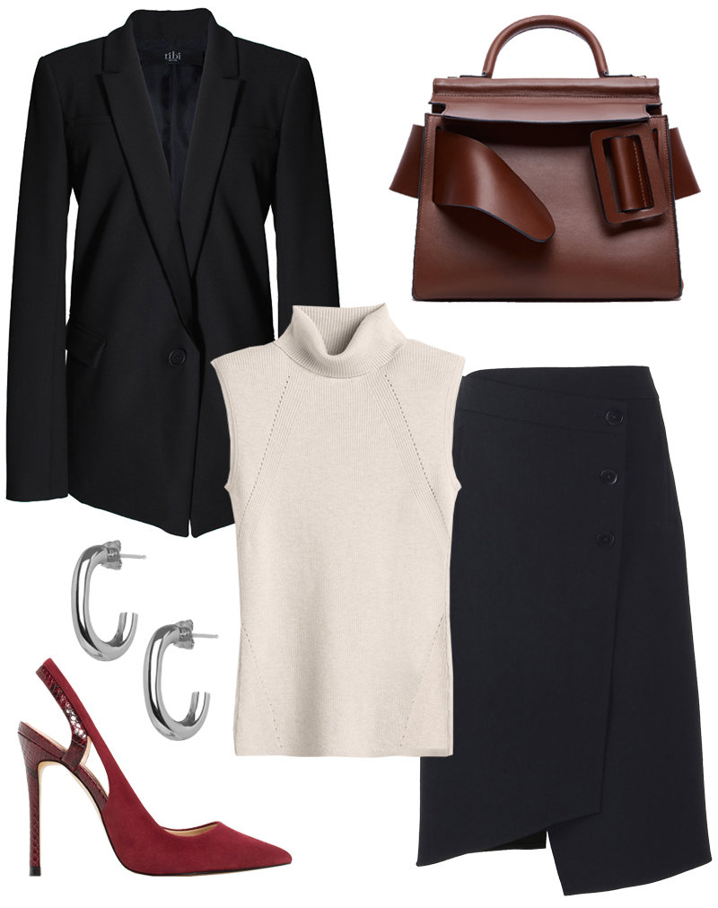 Tailored Skirt Suit + Structured Tote