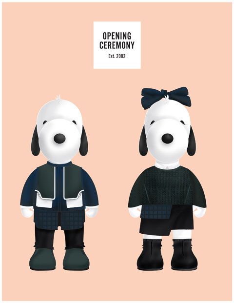 Snoopy and Belle in Fashion by Opening Ceremony